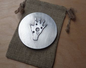 Purse mirror - hamsa symbol - cast pewter