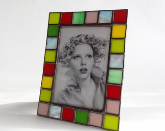 4X6 picture frame - Stained glass opal color glass - vertical or horizontal