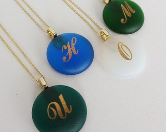 Personalized Glass Jewels Gold Monogrammed initials pendant - Round shape