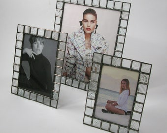 Stained glass picture frame - 4x6 - 5x7 - 8x10 - clear patterned glass - vertical or horizontal
