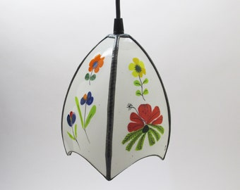 Stained glass white art glass pendant light - Fused, hand painted, slumped.