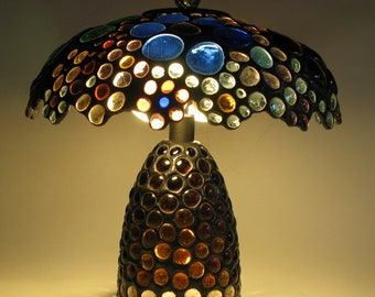 Stained Glass Table Lamp - Multi Colored Glass Jewels - one of a Kind