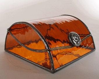 Glass jewelry box - amber art glass