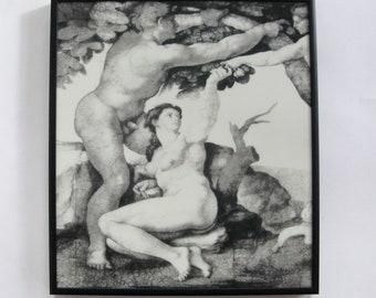 Silkscreen print on glass with enamels - Michelangelo's Adam & Eve