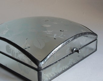 Stained glass jewelry box - etched floral glass pattern - medium square dome