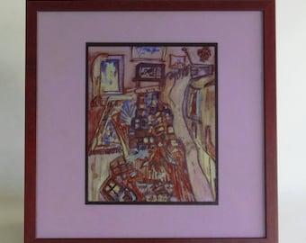 """Original painting silkscreen on glass - """"Legs"""""""