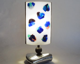 Fused glass lamp - Small table light - White and blues art glass - One-of-a-kind