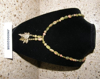 Unakite Beaded Necklace with Gold toned leaf Pendants