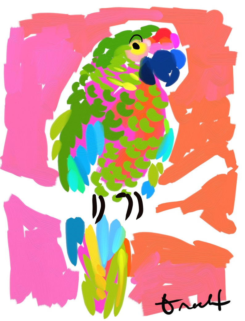 Pink and Green Parrot Art Print