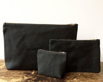 Utility Pouch Trio Set, Waxed Canvas Pouch, Waxed Canvas Bag, Minimalist Style, large pouch, zipper pouch, travel pouch