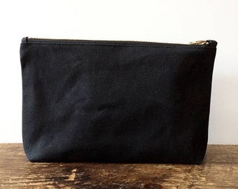 Black Utility Pouch, waxed canvas pouch, waxed canvas bag, minimalist style, large pouch, zipper pouch, travel pouch, canvas pouch
