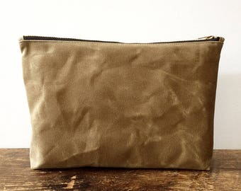 Sand Utility Pouch, waxed canvas pouch, waxed canvas bag, minimalist style, large pouch, zipper pouch, travel pouch