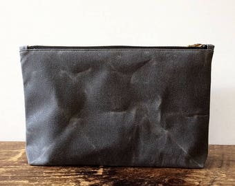 Waxed Canvas Pouch, Gray Utility Pouch, Waxed Canvas Zip Pouch, Minimalist Style, Large Pouch, Zipper Pouch, Travel Pouch, Everyday Carry