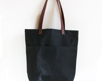 Waxed Canvas Bag, Black Everyday Tote, Waxed Canvas Tote Bag, Canvas Tote Bag, Minimalist Style, Carry All, Everyday Carry Bag, Simple Tote