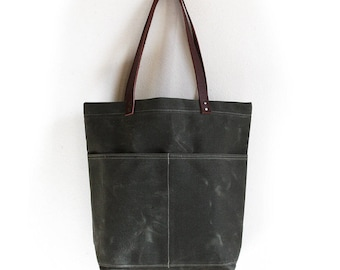 Dark Olive Everyday Tote, Waxed Canvas Bag, Waxed Canvas Tote, Canvas Tote Bag, Minimalist Style, Carry All, Everyday Carry Bag, Simple Tote