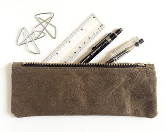Slim Waxed Canvas Zipper Pouch, Pen Pencil Pouch