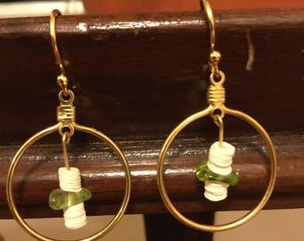 Jade and Gold Hoop Earrings