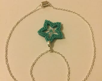 Aqua beaded star pendant