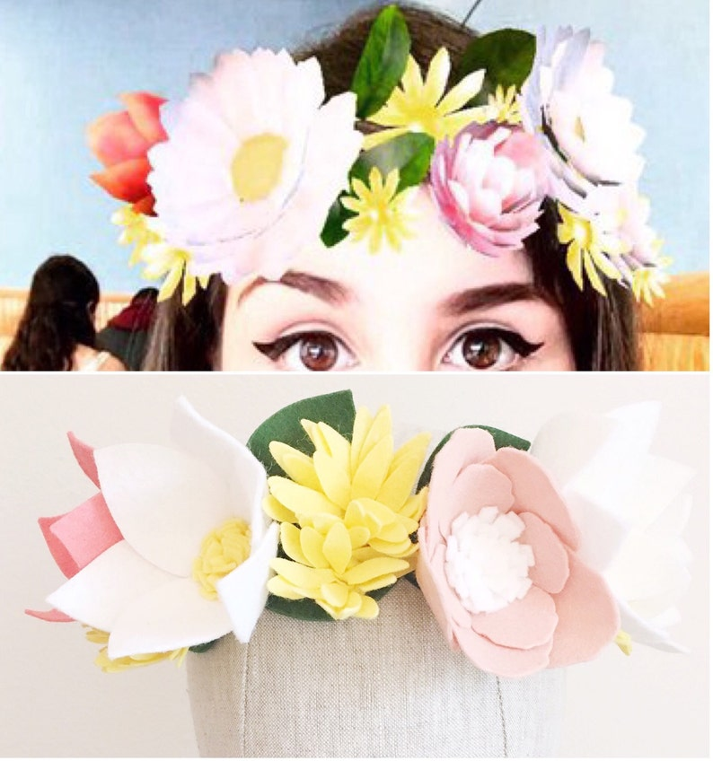 Snapchat Flower Crown Snapchat Crown Felt Flower Crown  e3f30cb744c2