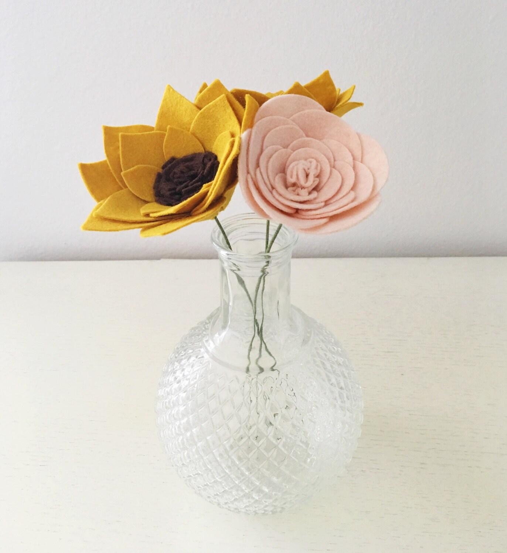 Set of 3 felt flower stems build your own felt flower etsy zoom izmirmasajfo