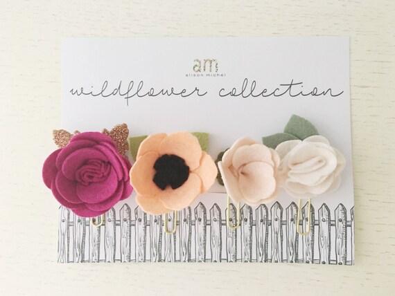 Wildflower felt paper clip set flower paper clips felt etsy image 0 mightylinksfo