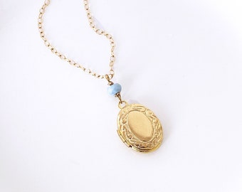 Dainty Locket Necklace Gold Filled Chain, Photo Locket with Birthstones, Keepsake Jewelry for Mom