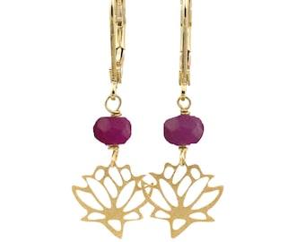 Lotus Earrings, Genuine Ruby Earrings, Lotus Flower Earrings, Ruby Gemstone Earrings, July Birthstone