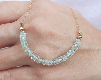 Aquamarine Necklace Gold Filled, Aquamarine Choker Necklace, Gemstone Bar Necklace, Row Necklace, Gemstone Bead Necklace, March Birthstone