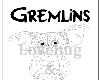 GREMLINS Coloring Book W Greta Spike Gizmo Instant Printable Digital File Travel Activity Rainy Day Art Therapy Party Fun
