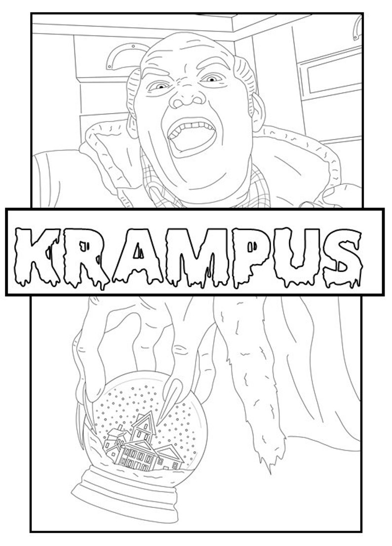 Krampus Digital Coloring Book // Christmas Color (Horror), Instant Print  PDF File, Travel Activity, Rainy Day Activity, Coloring Pages