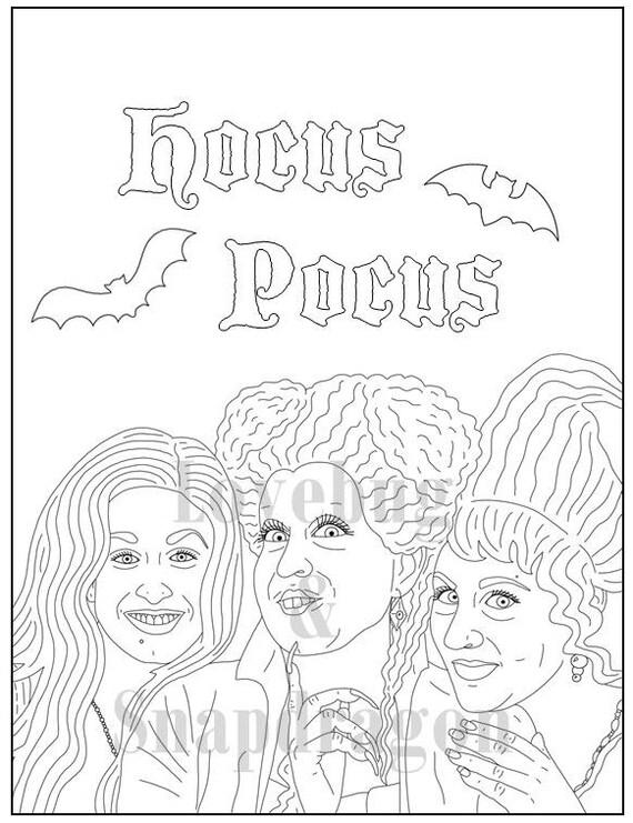 hocus pocus coloring pages Hocus Pocus Digital Coloring Book // Instant Printable PDF | Etsy hocus pocus coloring pages