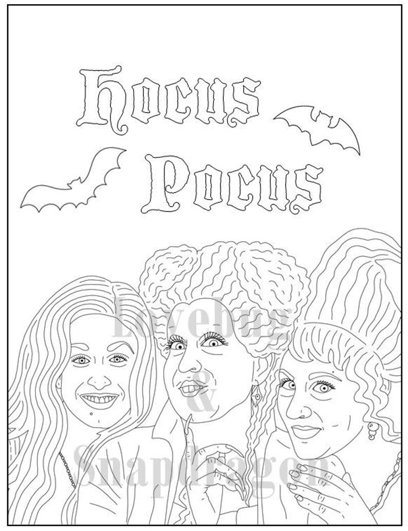 Hocus Pocus Digital Coloring Book Instant Printable Pdf Halloween Activity Rainy Day Art Therapy Coloring Page Party Fun Witches