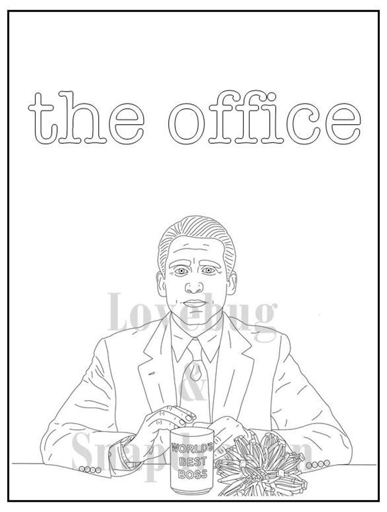 The Office Digital Coloring Book // Instant Print PDF, Travel Activity,  Rainy Day Activity, Secret Santa Gift, Art Therapy, Coloring Pages