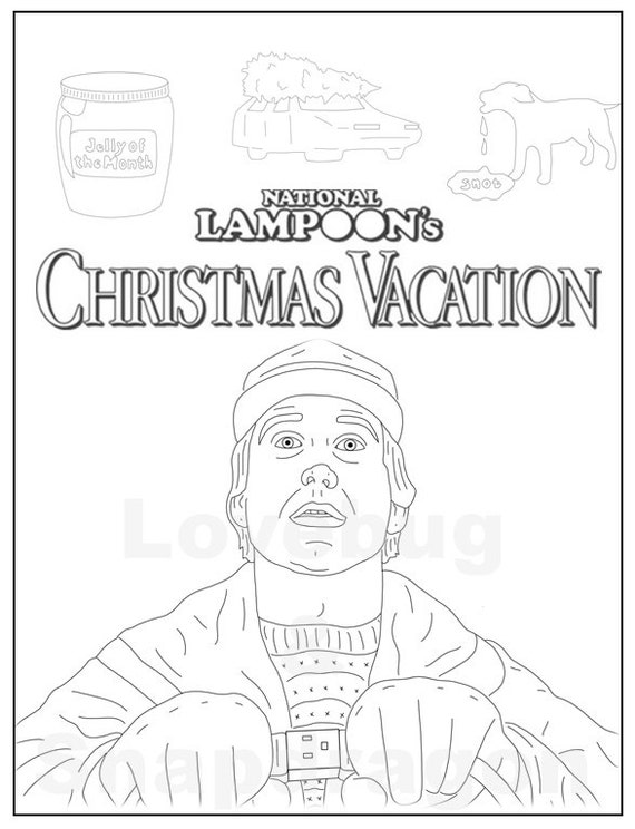 National Lampoon's Christmas Vacation Adult Coloring Book // Instant Print, Download, Digital File, Christmas Activity, Coloring Pages
