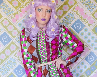 vintage 1970s geometric psychedelic handmade 2pc outfit