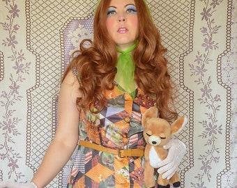 vintage 1970s country farm patchwork dress