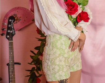 vintage 1960s mint green & lace high waist shorts