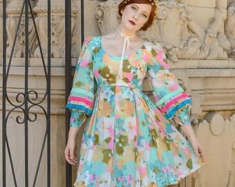 vintage 1960s pastel floral Emma Domb dress