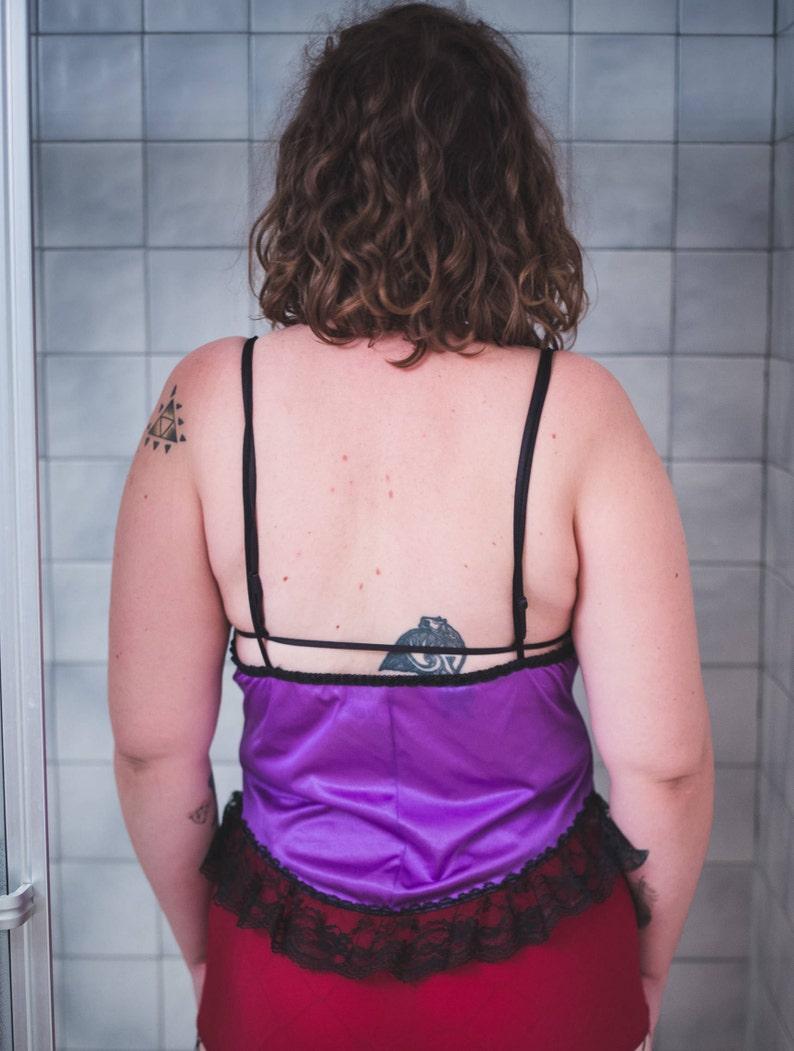 vintage 1980s purple /& black lace ruffle teddy