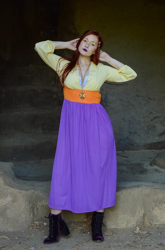 vintage 1970s color block dress