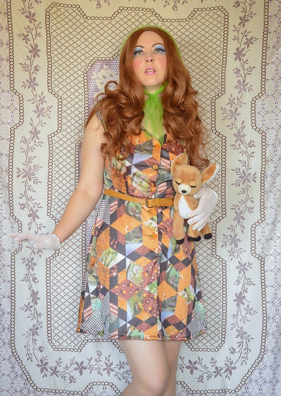 vintage 1970s country farm patchwork dress