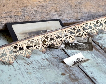Metal Ribbon, Metal Trim, Decorative Metal Strip, Filigree Decorative strip, Rustic Cream Finish, for furniture - shelves - crowns - frames
