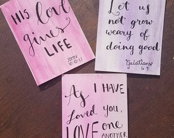 Hand-painted Watercolor Notecard Set with Hand Lettering in Ink (4x6)