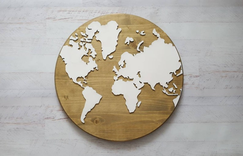 Laser Cut World Map.Olive Round Wood Map Of The World 18 Wood World Etsy