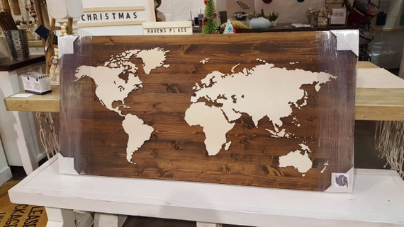 Wood World Map Cut Out.Wood Map Of The World Huge Wood World Map Rustic World Etsy
