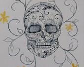 Carmen - Dia De Los Muertos Sugar Skull Yellow Flowers- Original Watercolor Painting Drawing -11X14 Artwork by Mia Vredenburg