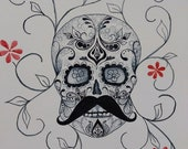 Javier -Dia De Los Muertos Sugar Skull Red Flowers- Original Watercolor Painting Drawing -11X14 Artwork by Mia Vredenburg