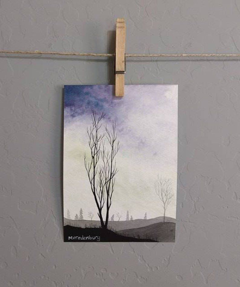 Tree Silhouette Purple and Green 5x7 Artwork by Mia Vredenburg Misty Morning Original Watercolor Painting Drawing
