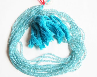 High Quality Aquamarine faceted Rondelle Beads 2-3mm, 3-4mm, 4-5mm, 5-6mm