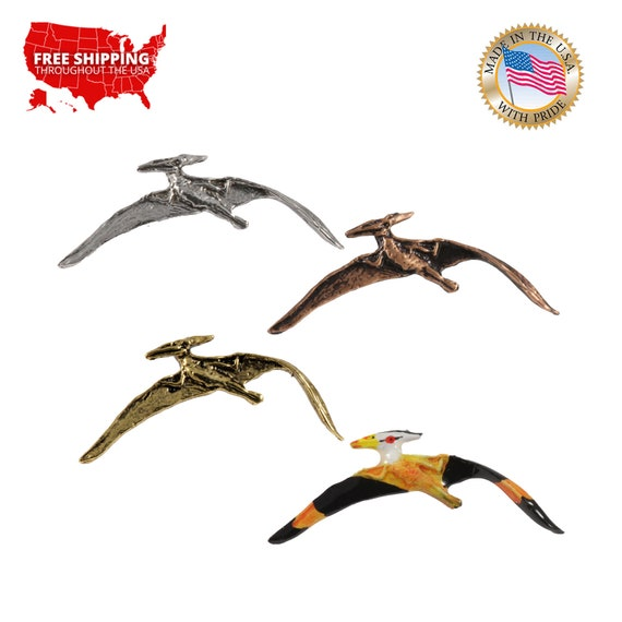 Pterodactyl Handmade From Lead Free Pewter Lapel Pin Badge H